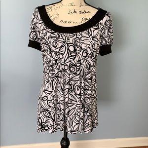 DRESSBARN size 12 blouse black and white